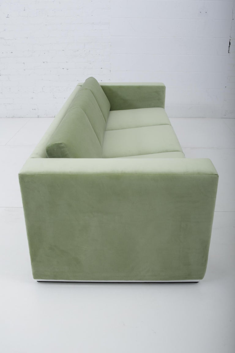 American Milo Baughman Green Velvet Sofa on Chrome Base, 1970 For Sale