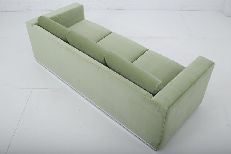 20th Century Milo Baughman Green Velvet Sofa on Chrome Base, 1970 For Sale