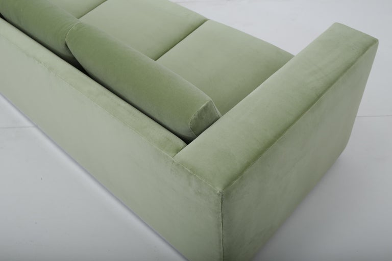 Milo Baughman Green Velvet Sofa on Chrome Base, 1970 For Sale 1
