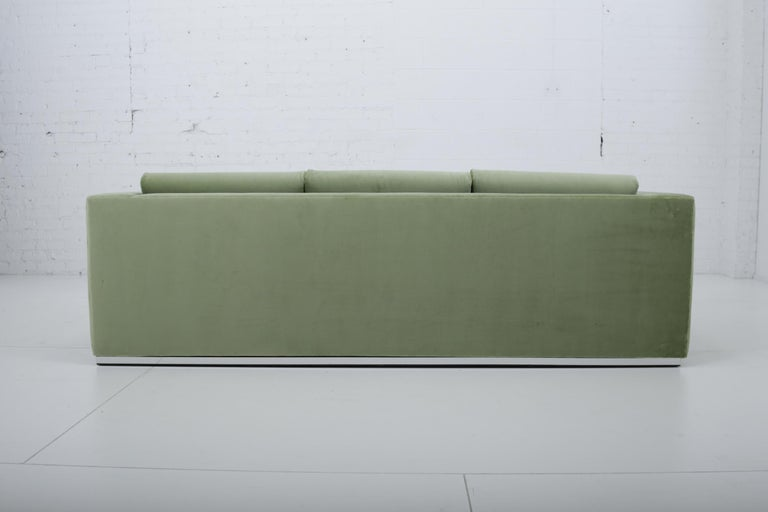 Milo Baughman Green Velvet Sofa on Chrome Base, 1970 For Sale 2