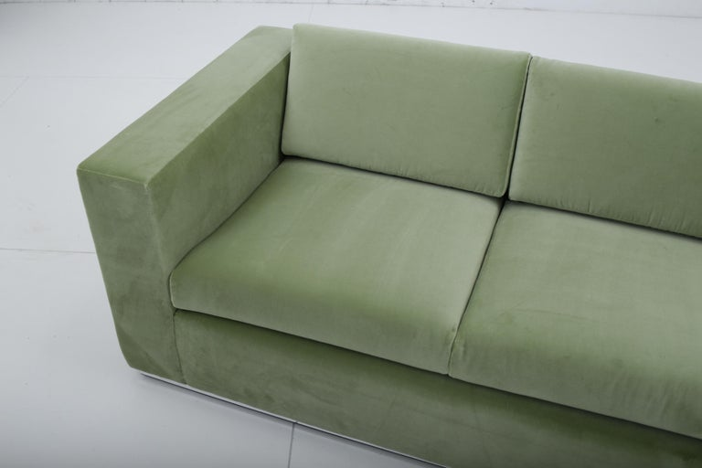 Milo Baughman Green Velvet Sofa on Chrome Base, 1970 For Sale 3