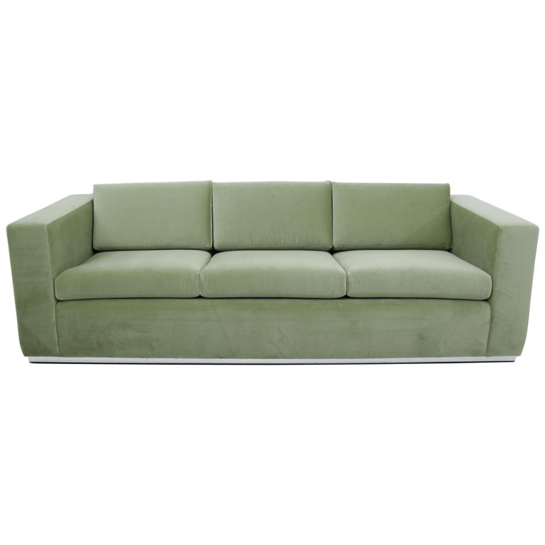 Milo Baughman Green Velvet Sofa on Chrome Base, 1970 For Sale