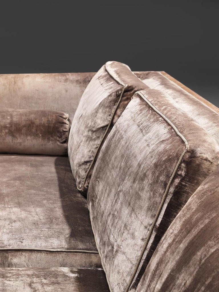 Milo Baughman Grey Velvet and Rosewood Sofa For Sale 4