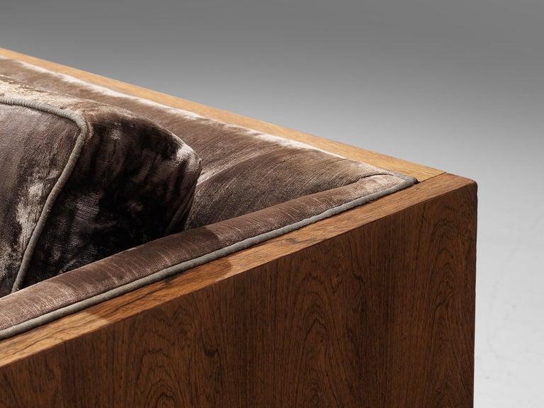 Milo Baughman Grey Velvet and Rosewood Sofa For Sale 5