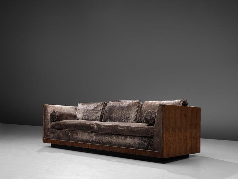 Mid-Century Modern Milo Baughman Grey Velvet and Rosewood Sofa For Sale