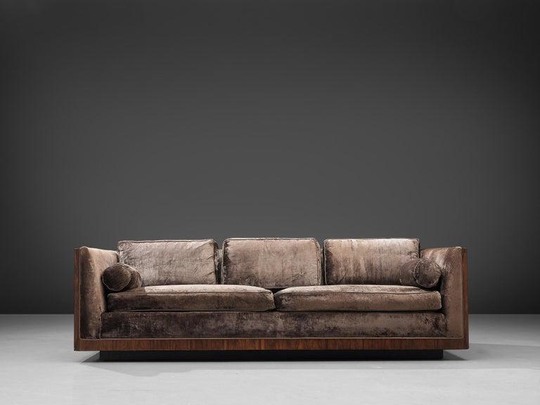 Virgin Islands Milo Baughman Grey Velvet and Rosewood Sofa For Sale