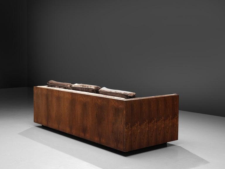 Milo Baughman Grey Velvet and Rosewood Sofa In Good Condition For Sale In Waalwijk, NL