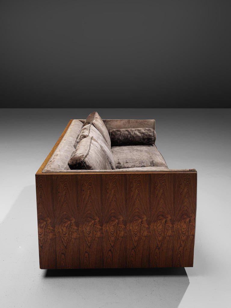 Mid-20th Century Milo Baughman Grey Velvet and Rosewood Sofa For Sale
