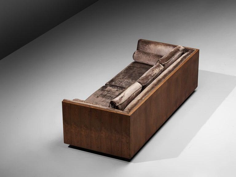 Milo Baughman Grey Velvet and Rosewood Sofa For Sale 1