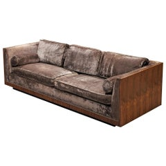Milo Baughman Grey Velvet and Rosewood Sofa