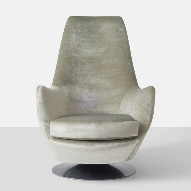 Polished Milo Baughman His and Hers Swivel Lounge Chairs For Sale