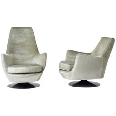 Milo Baughman His and Hers Swivel Lounge Chairs