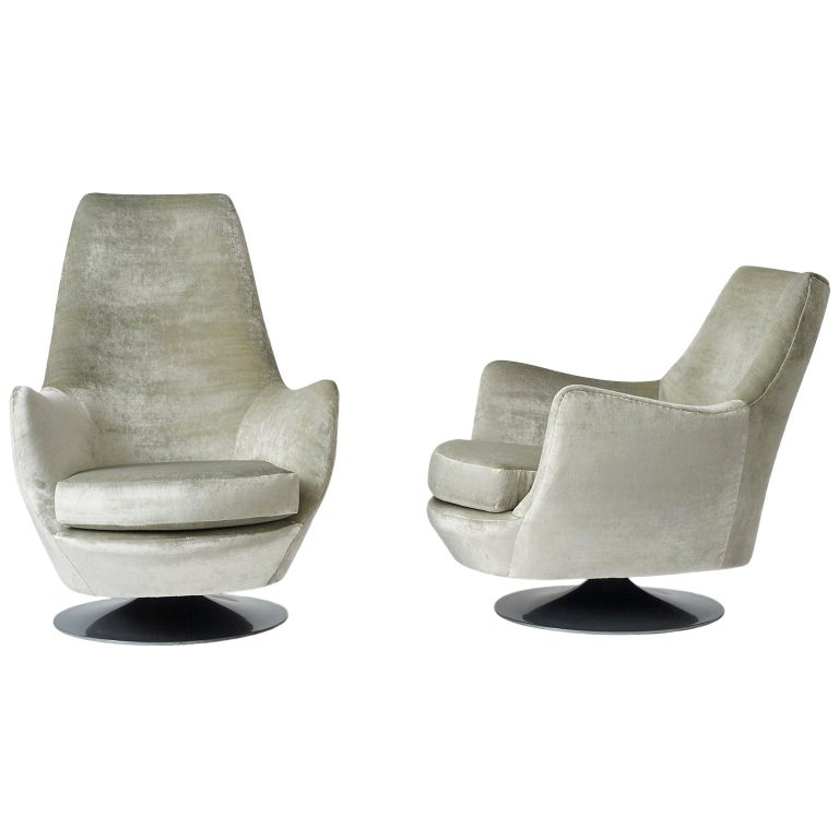 Milo Baughman His and Hers Swivel Lounge Chairs For Sale
