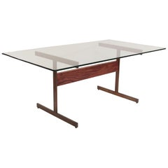 Milo Baughman I-Beam Rosewood & Bronze Table