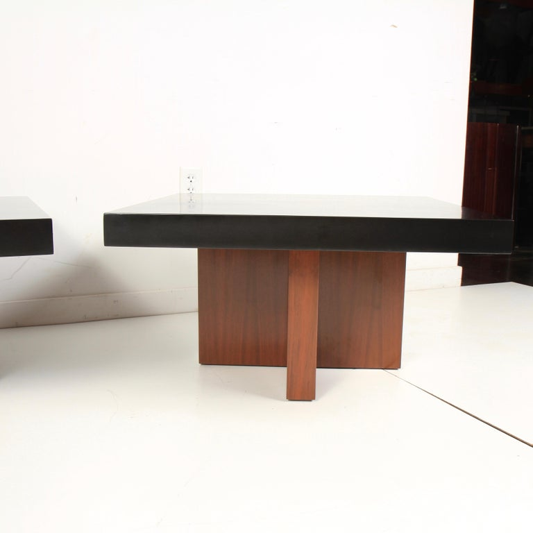 Mid-Century Modern Milo Baughman Lacquered Walnut End Tables by Thayer Coggin For Sale