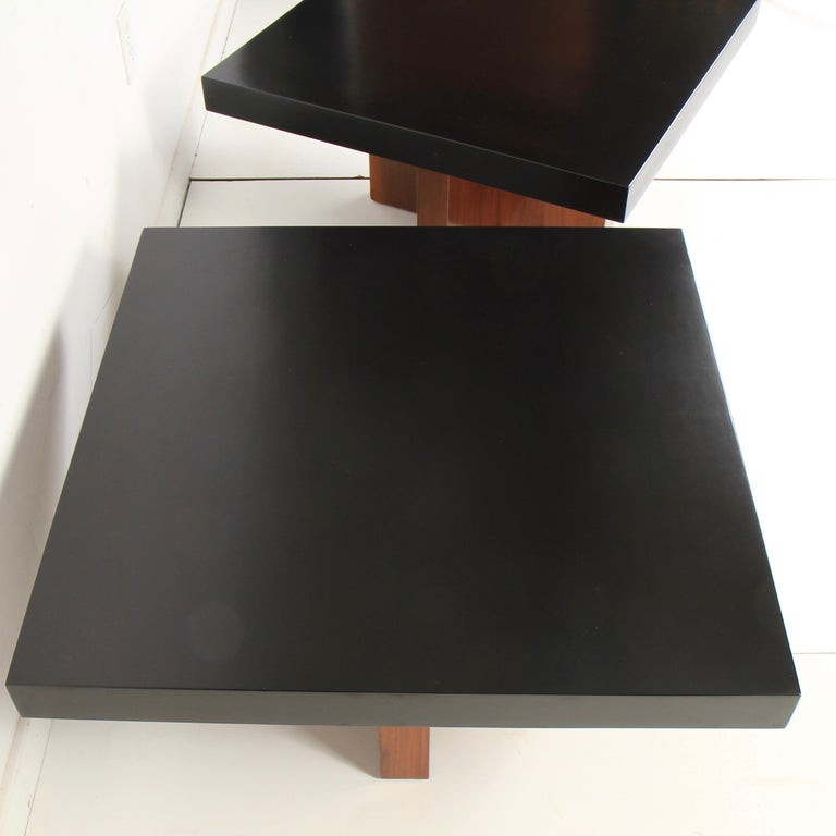 Milo Baughman Lacquered Walnut End Tables by Thayer Coggin In Good Condition For Sale In New London, CT