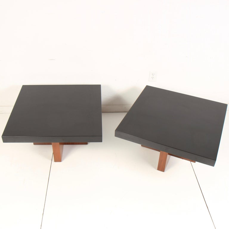 Milo Baughman Lacquered Walnut End Tables by Thayer Coggin For Sale 1