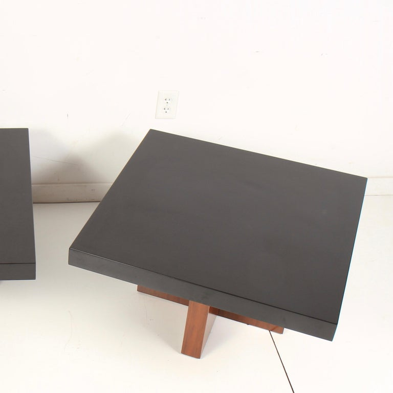 Milo Baughman Lacquered Walnut End Tables by Thayer Coggin For Sale 2