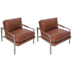 Milo Baughman Leather Lounge Chairs