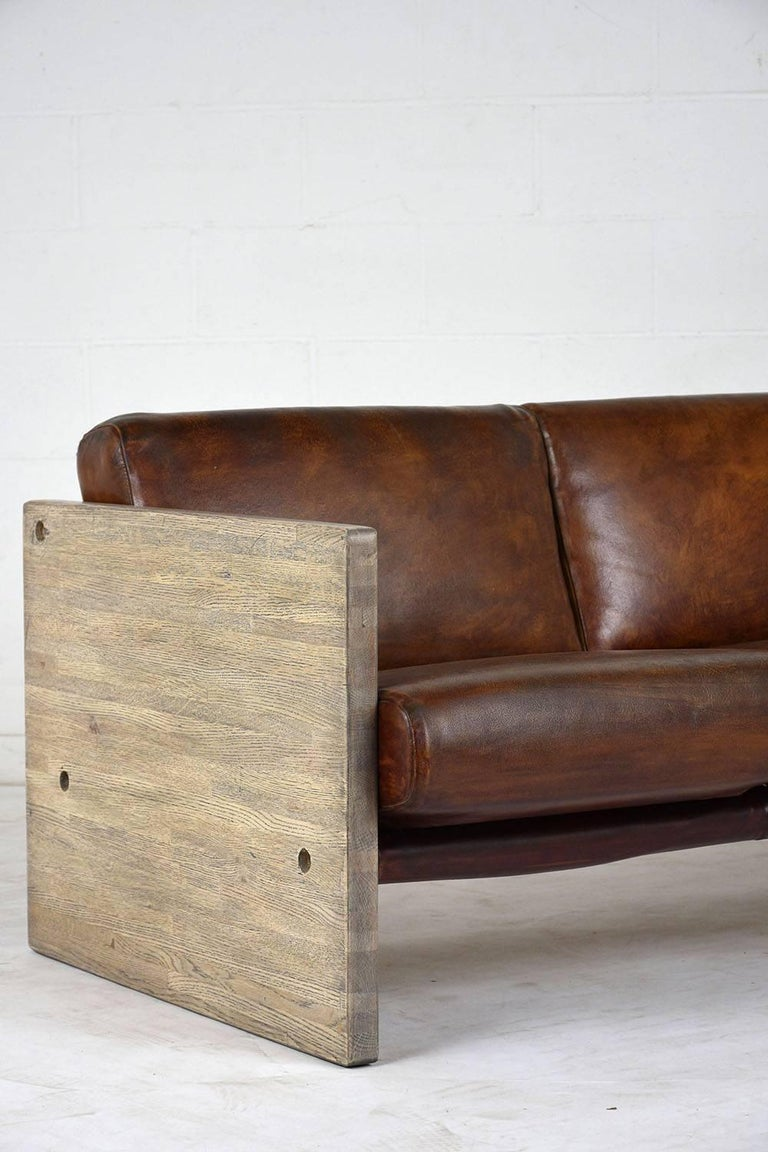 Dyed Milo Baughman Leather Three-Seat Sofa For Sale