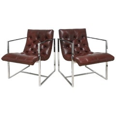 Milo Baughman Leather Tufted and Chrome Cube Scoop Side Chairs