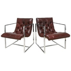 Milo Baughman Leather Tufted and Chrome Cube Scoop Side Chairs Vintage