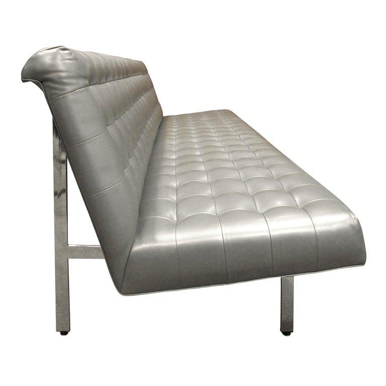 Modern Milo Baughman Long Slipper Sofa in Tufted Silver Satin Vinyl, 1970s For Sale