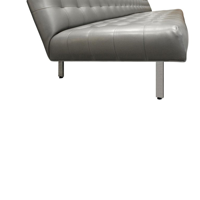 Milo Baughman Long Slipper Sofa in Tufted Silver Satin Vinyl, 1970s In Excellent Condition For Sale In New York, NY