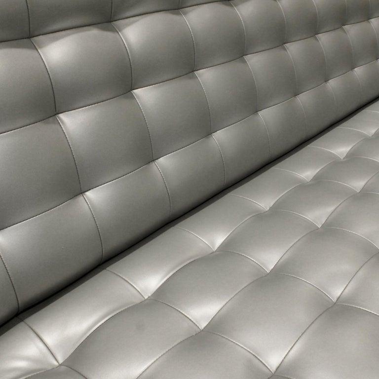 Late 20th Century Milo Baughman Long Slipper Sofa in Tufted Silver Satin Vinyl, 1970s For Sale