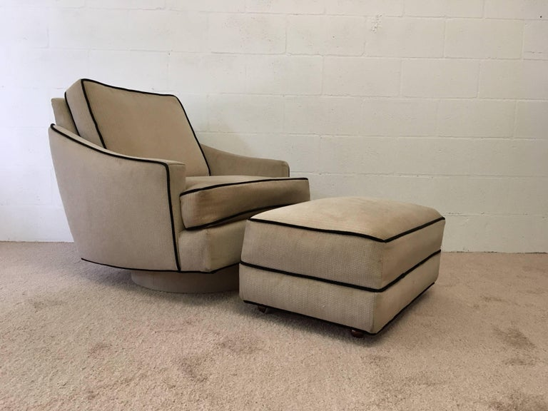 Fabric Milo Baughman Lounge Chair with Ottoman For Sale