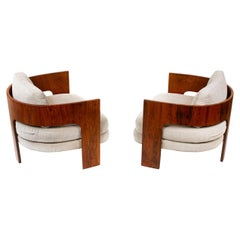 Milo Baughman Lounge Chairs Model ON-3 in Brazilian Rosewood for Thayer Coggin