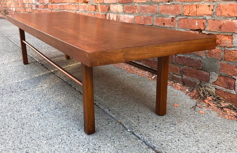 Milo Baughman Low Walnut Long Bench or Coffee Table For Sale 3