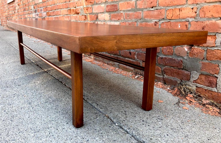 Milo Baughman Low Walnut Long Bench or Coffee Table For Sale 4
