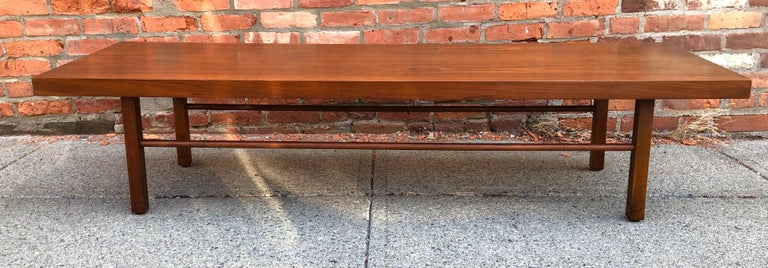 Mid-Century Modern Milo Baughman Low Walnut Long Bench or Coffee Table For Sale