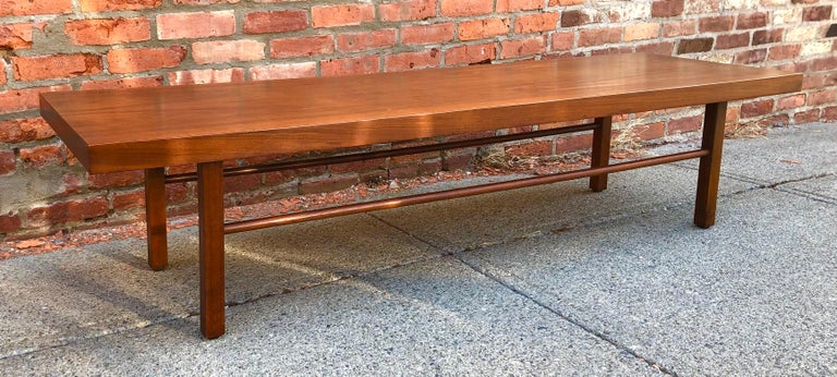American Milo Baughman Low Walnut Long Bench or Coffee Table For Sale