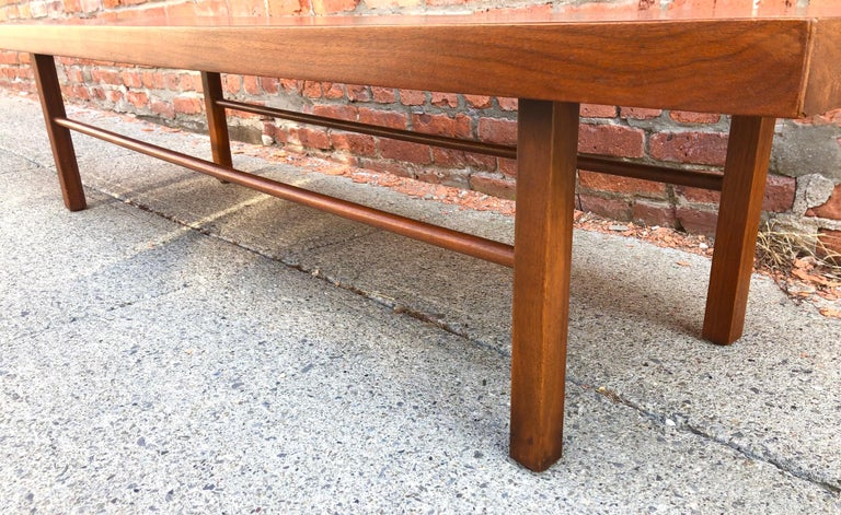 Mid-20th Century Milo Baughman Low Walnut Long Bench or Coffee Table For Sale