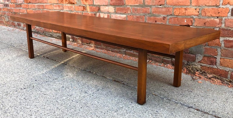Milo Baughman Low Walnut Long Bench or Coffee Table For Sale 1