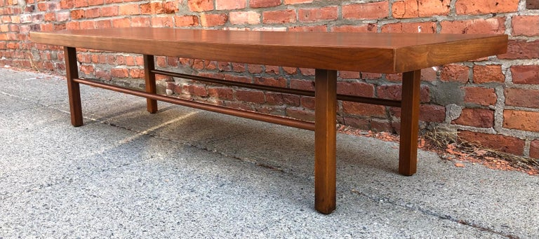 Milo Baughman Low Walnut Long Bench or Coffee Table For Sale 2