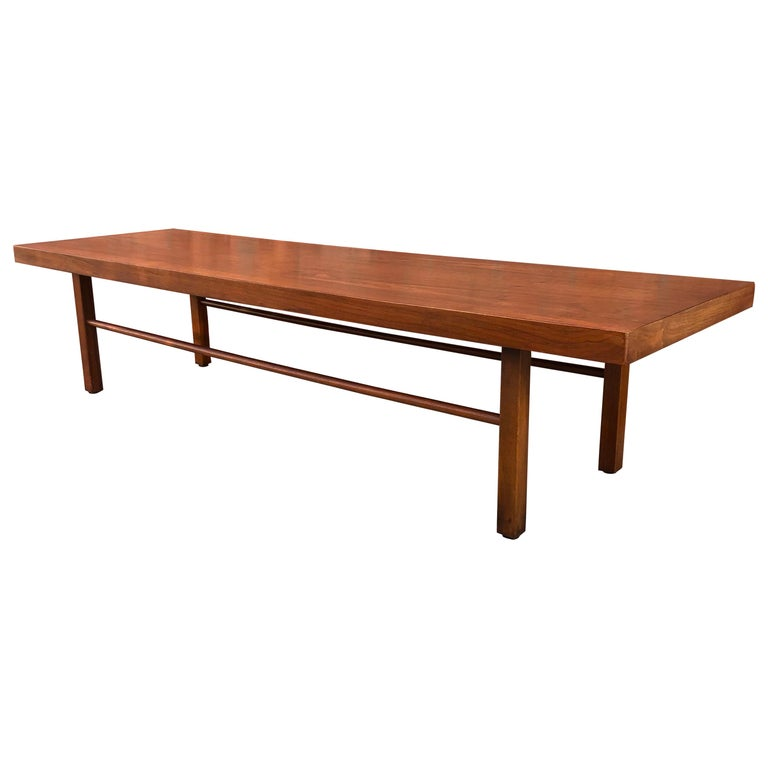 Milo Baughman Low Walnut Long Bench or Coffee Table For Sale