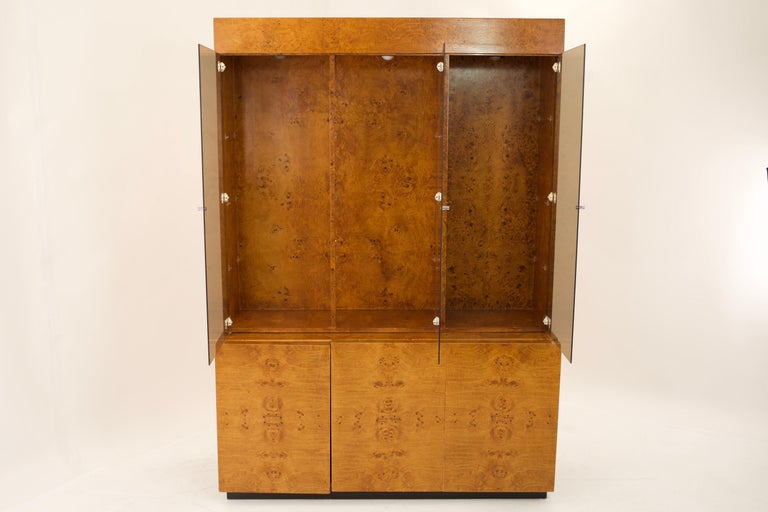 Mid-Century Modern Mid Century Burlwood Credenza with Hutch For Sale