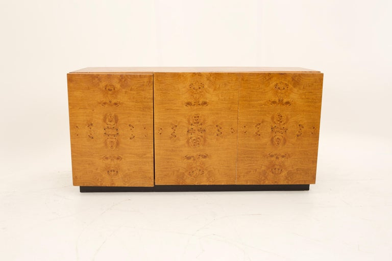 Late 20th Century Mid Century Burlwood Credenza with Hutch For Sale