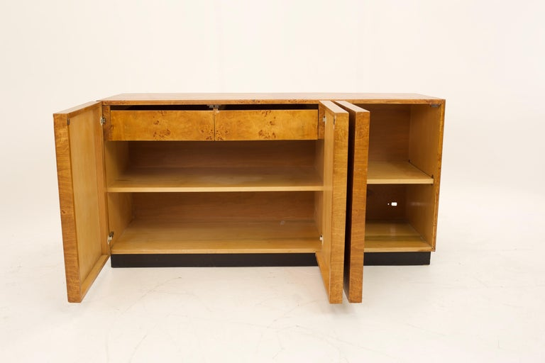 Glass Mid Century Burlwood Credenza with Hutch For Sale