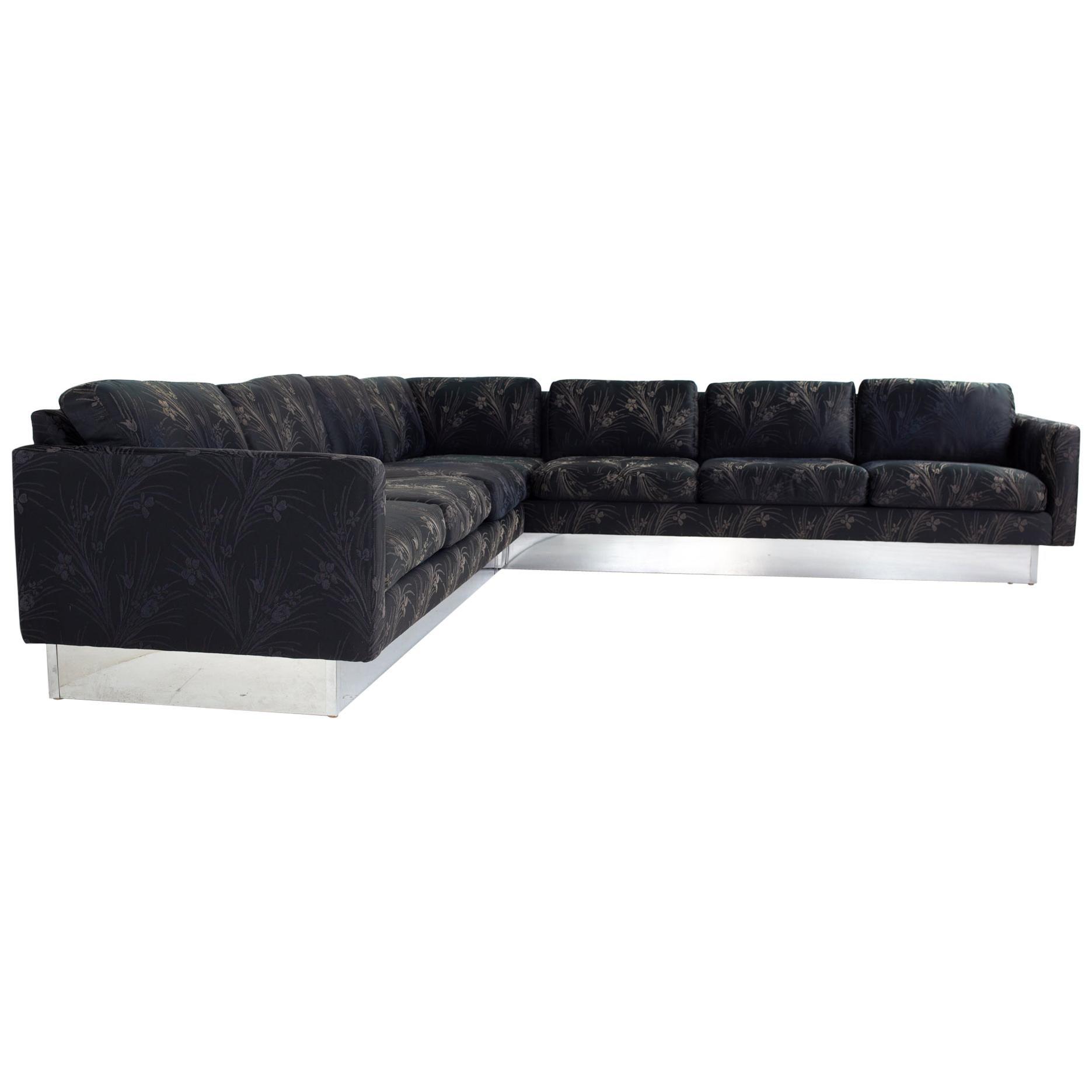 Milo Baughman Mid Century Chrome Base Sectional Sofa