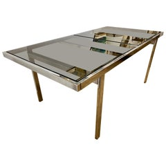 Milo Baughman Midcentury Expandable Chrome and Glass Dining Room Table