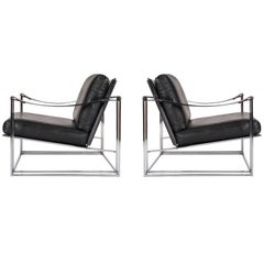 Milo Baughman Mid-Century Modern Black Leather Club Lounge Chairs, Thayer Coggin