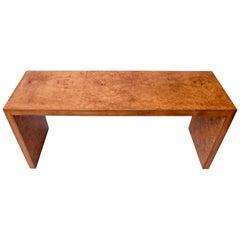 Milo Baughman Mid-Century Modern Burl Wood Console Parsons Sofa Table, USA 1970s