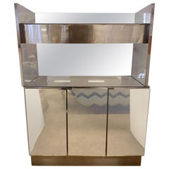 Mid-Century Modern Two Tiered Dry Bar Cabinet Credenza Server