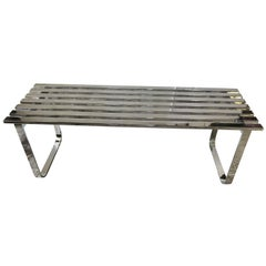 Milo Baughman Mid-Century Modern Steel Chrome Slatted Bench for DIA