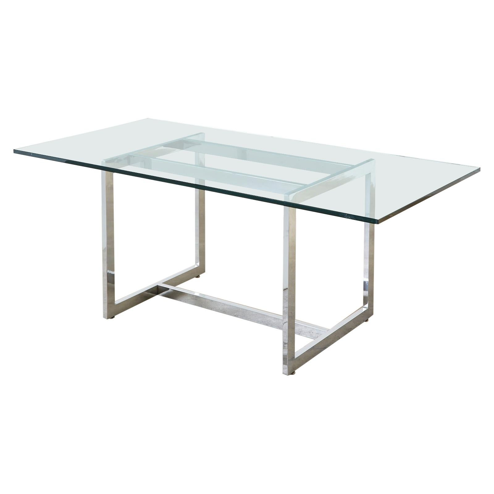 Milo Baughman Midcentury Chrome and Glass Dining Table