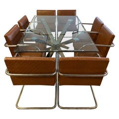 Milo Baughman Style Dining Room Set Table & 8 Leather Cantilever Chairs
